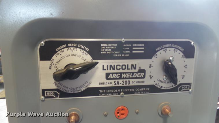 Lincoln Electric SA-200 welder | Item DQ9103 | SOLD! June 7