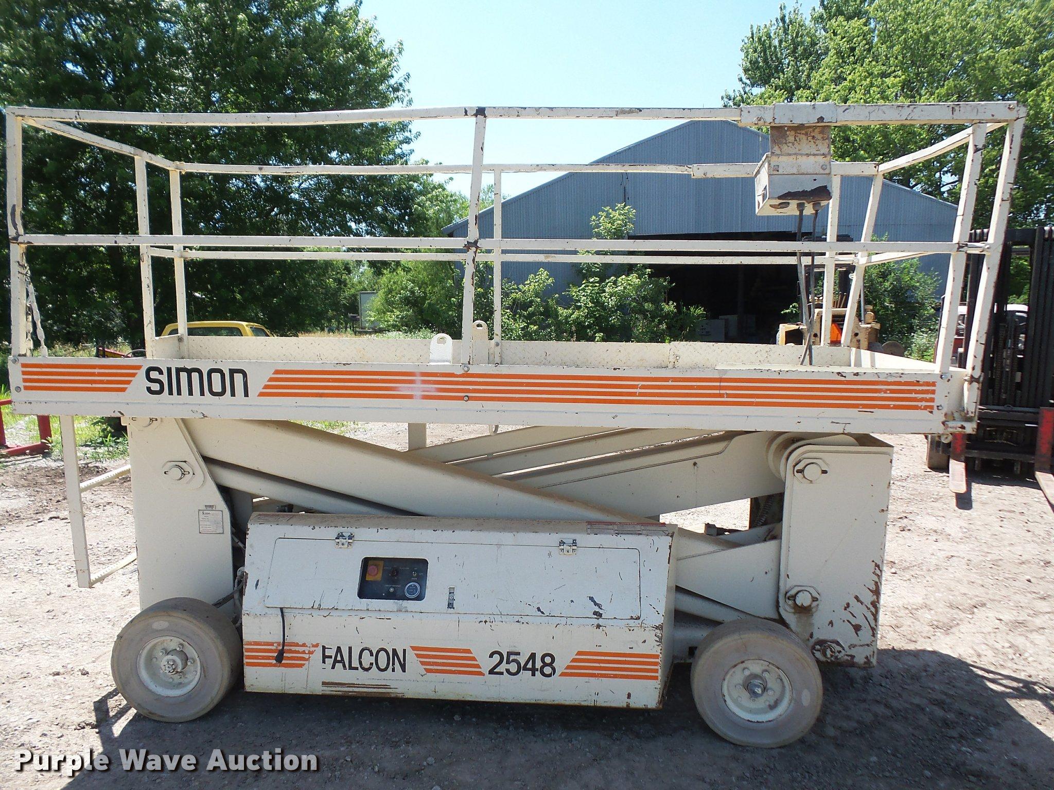simon falcon 2548 scissor lift item da6456 sold july 19 rh purplewave com Manual Aerial Lifts Safety Aerial Lift Operators Manual