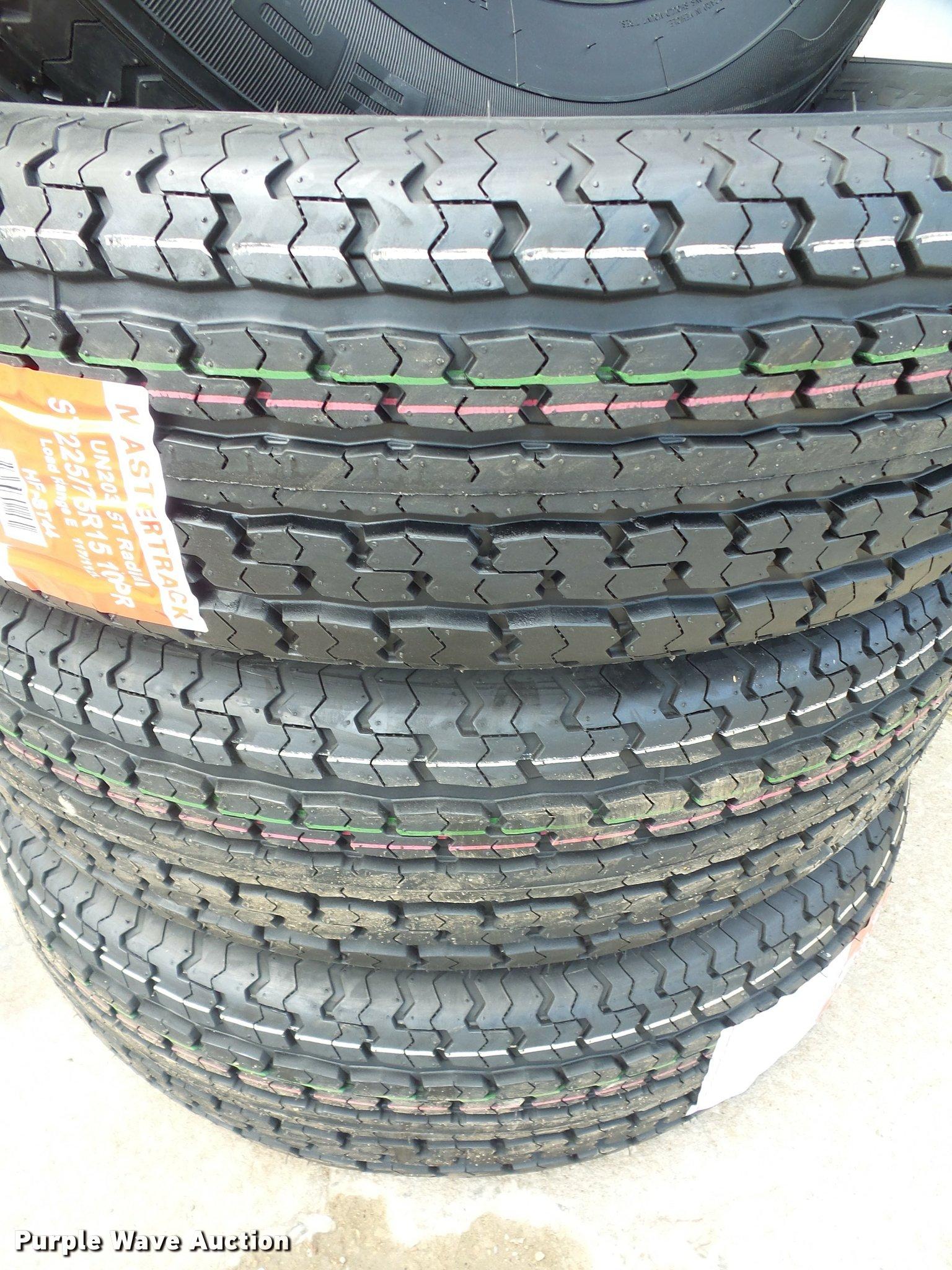 4) Mastertruck ST225/75R15 10 PR tires | Item DL9555 | SOLD