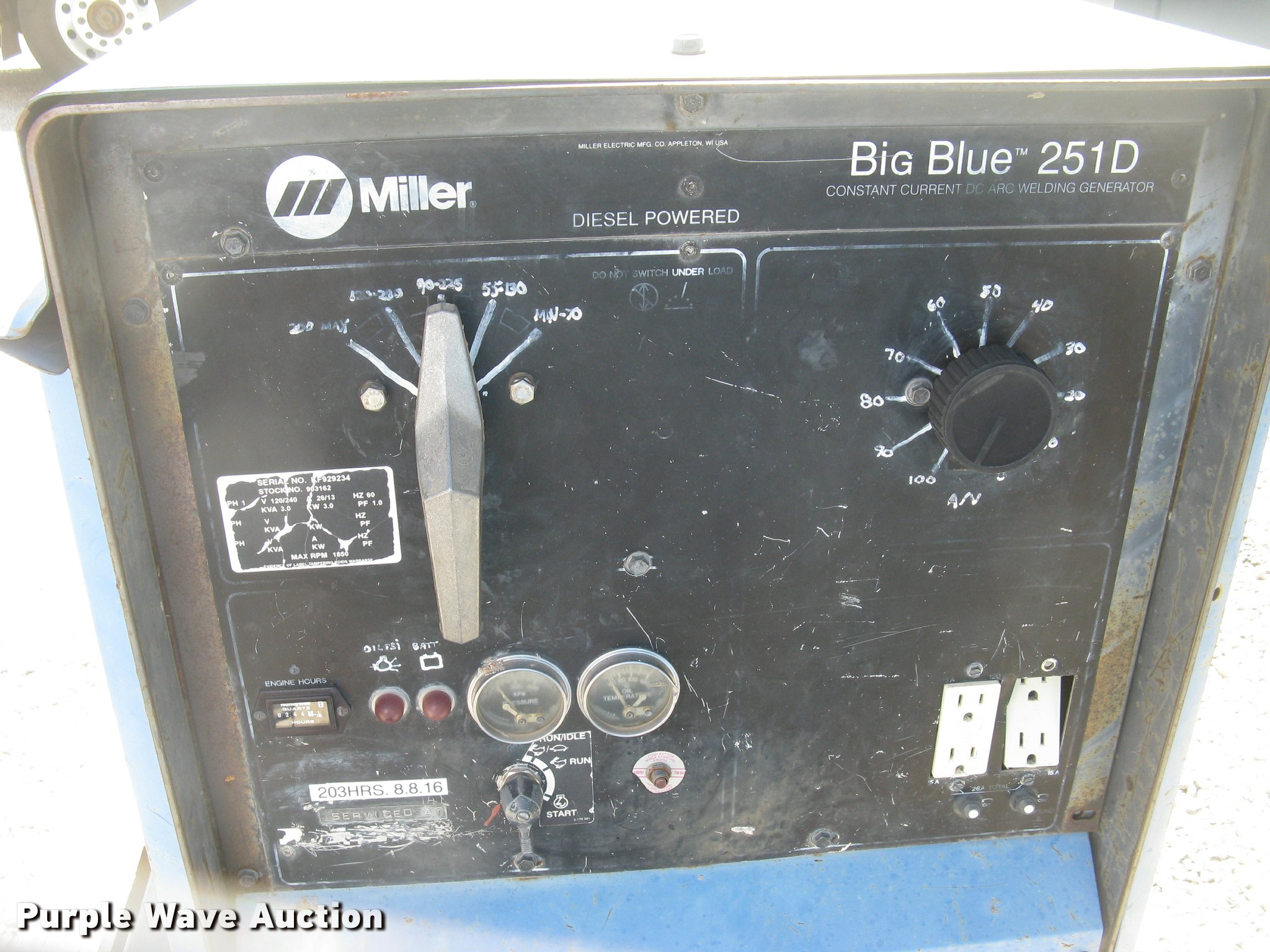Miller Big Blue 251D DC welder/generator | Item AR9773 | SOL