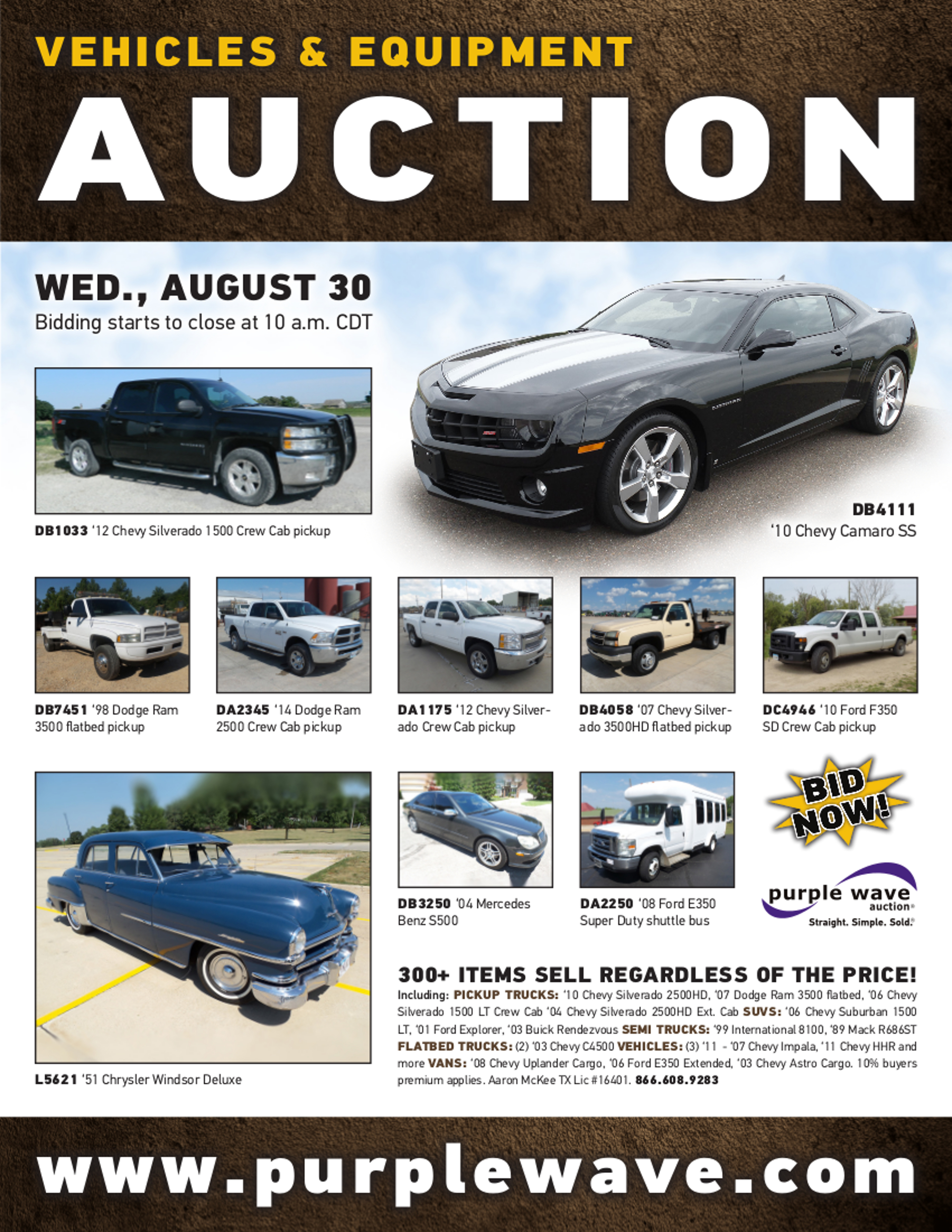 SOLD August 30 Vehicles and Equipment Auction