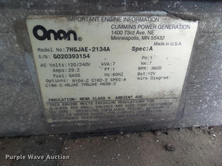 Onan CMM 7000 generator | Item DH9465 | SOLD! October 26 Con...  Onan Generator Wiring Schematic on 12.5 onan generator wiring, onan emerald plus generator wiring, onan generator 4000 schematic, 3 phase generator wiring, 4kw onan generator wiring, rv generator wiring, on a onan 5500 generator wiring,