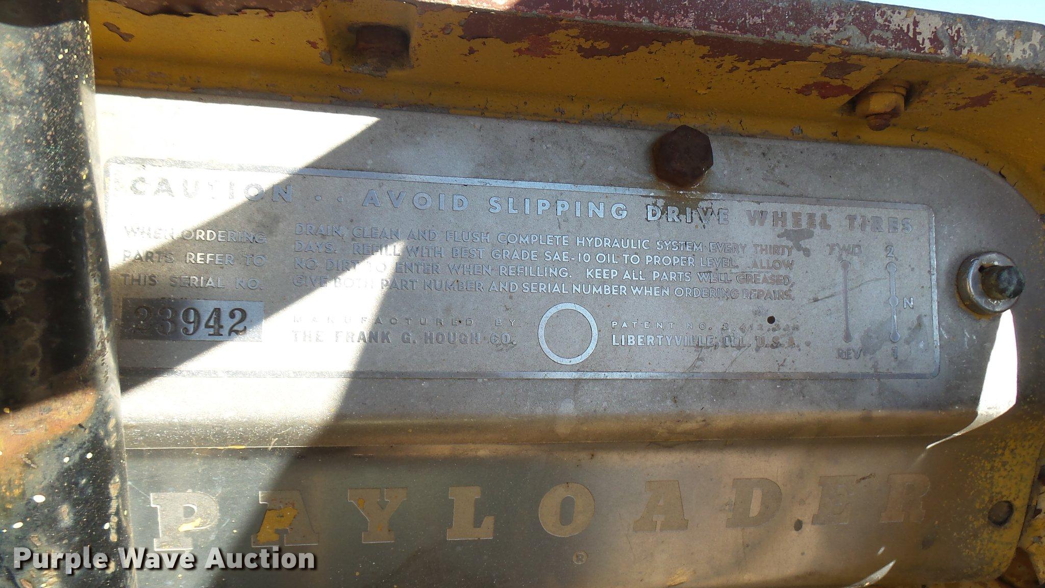 Hough 5A Payloader wheel loader | Item ED9038 | SOLD! Novemb