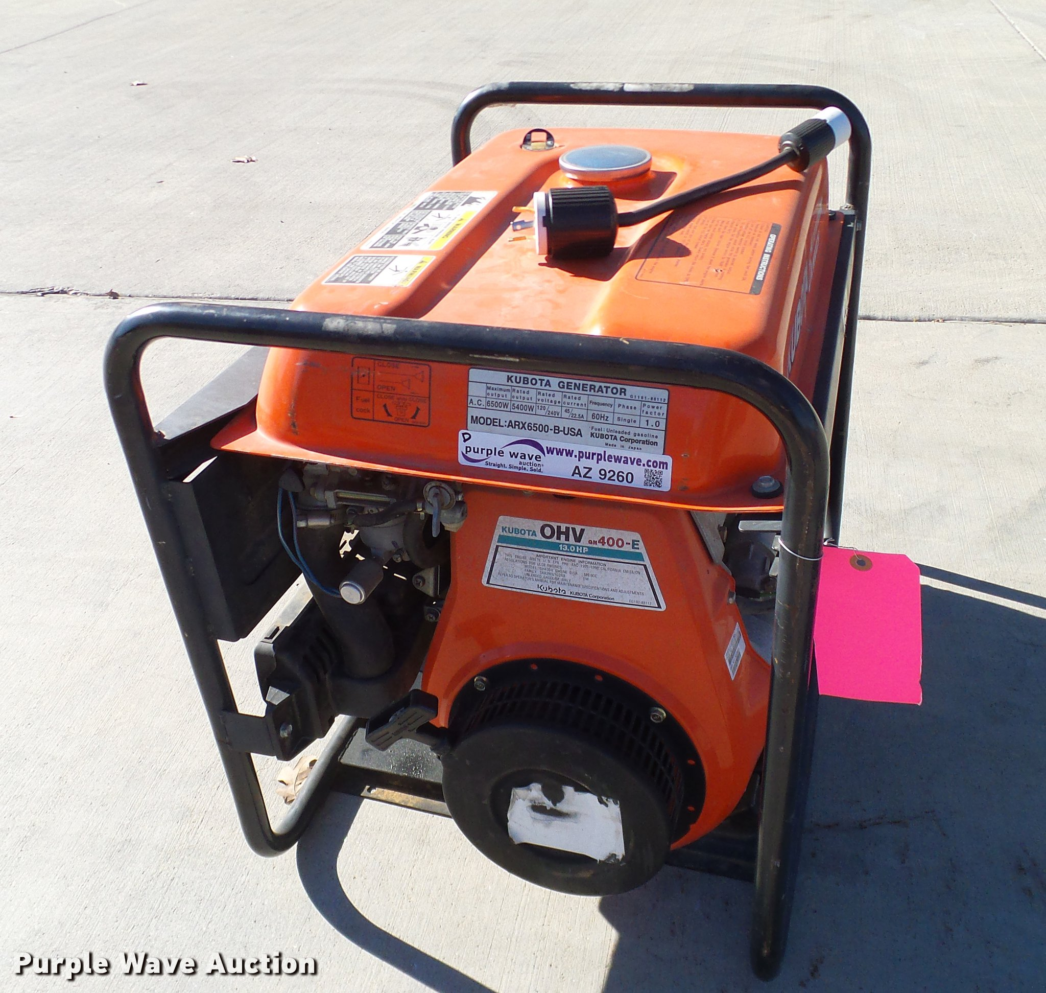 Kubota ARX6500 generator | Item AZ9260 | SOLD! December 27 V