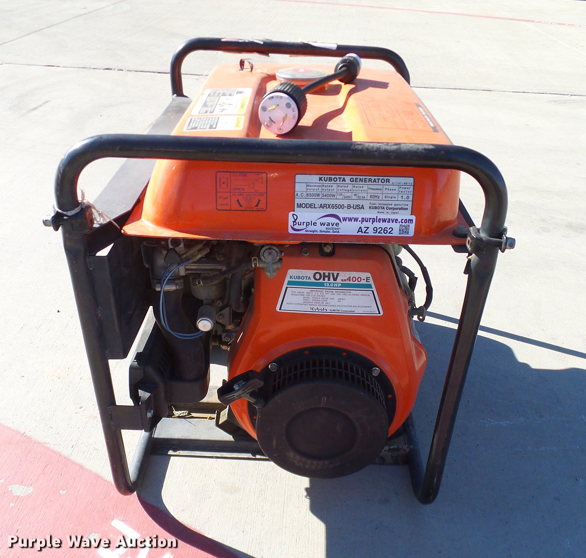 Kubota ARX6500 generator | Item AZ9262 | SOLD! December 27 V