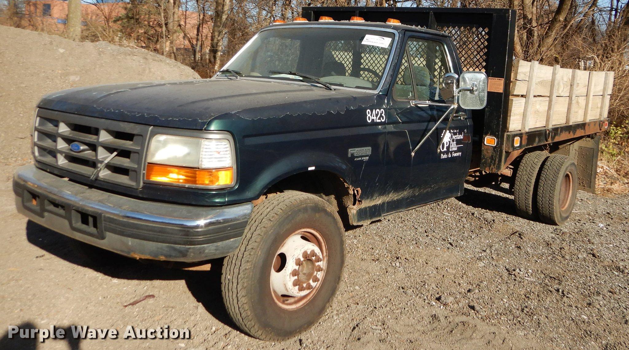 1995 Ford F450 Super Duty Flat Dump Bed Truck Item J5565 95 F250 Diesel Fuel Filter Parts Full Size In New Window