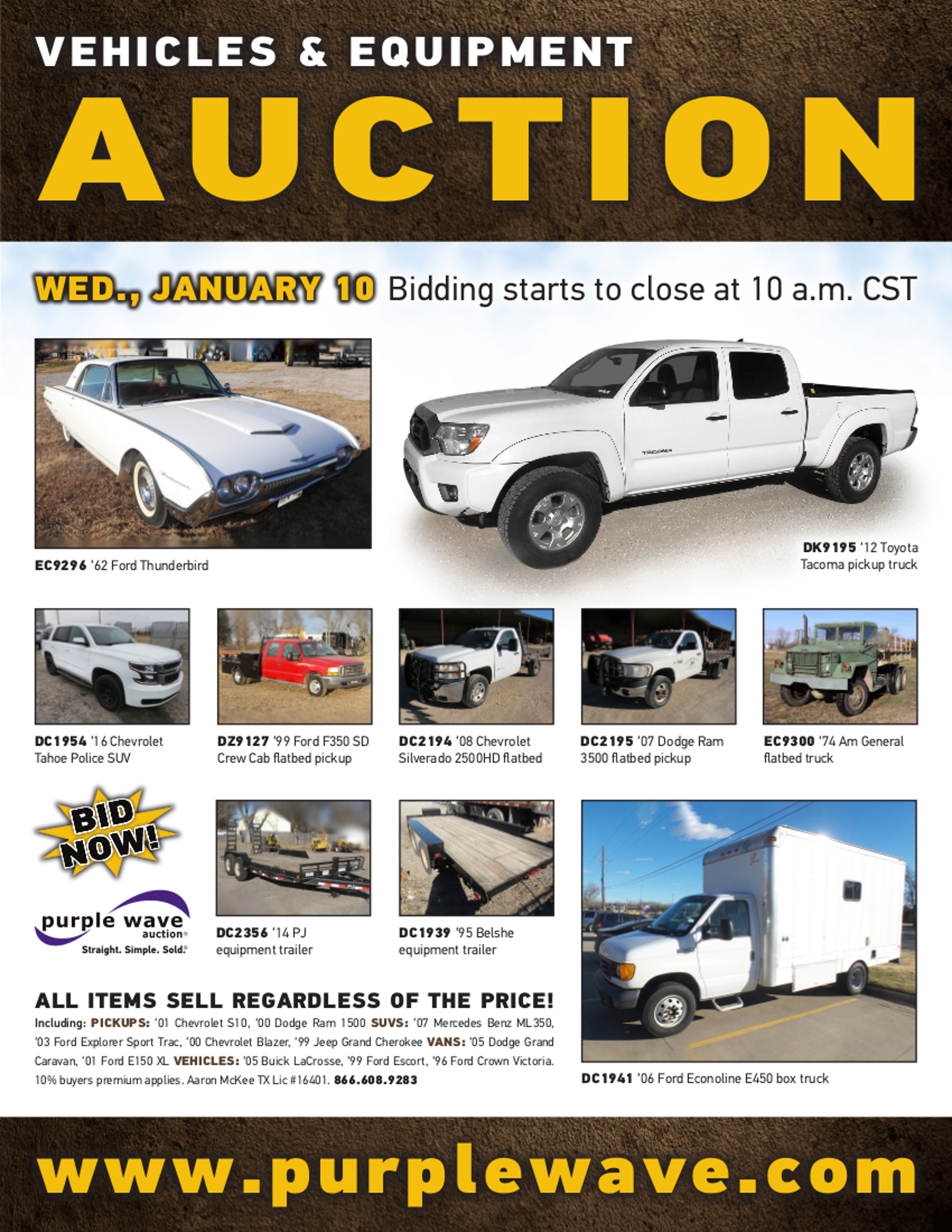 SOLD January 10 Vehicles and Equipment Auction