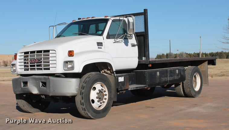 DB5075 Image For Item 1999 GMC 7500 Flat Dump Bed Truck