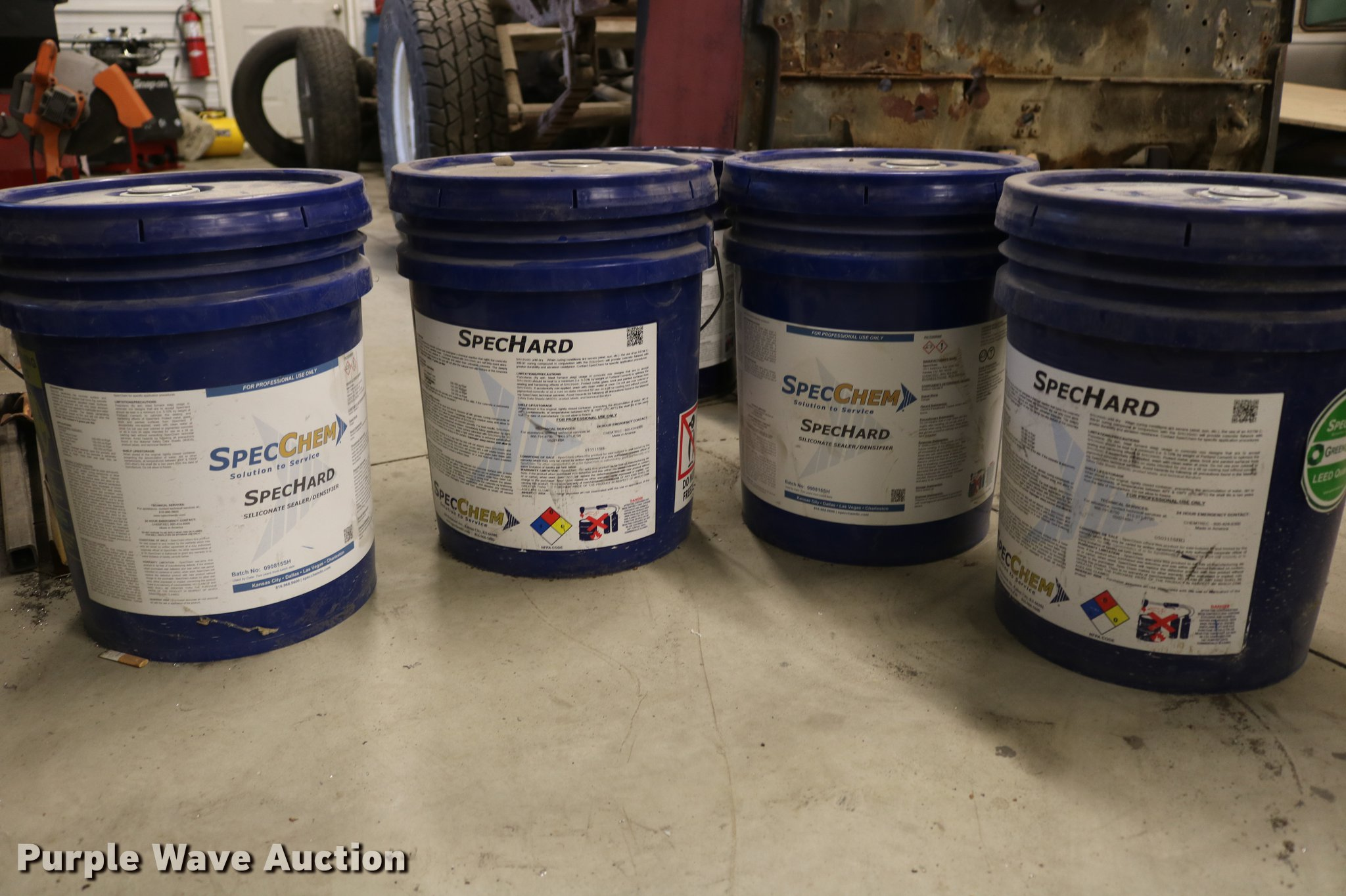 4) Spec chem five gallon buckets of concrete sealer | Item