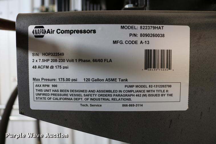 Napa air compressor | Item EW9167 | SOLD! May 16 Vehicles an
