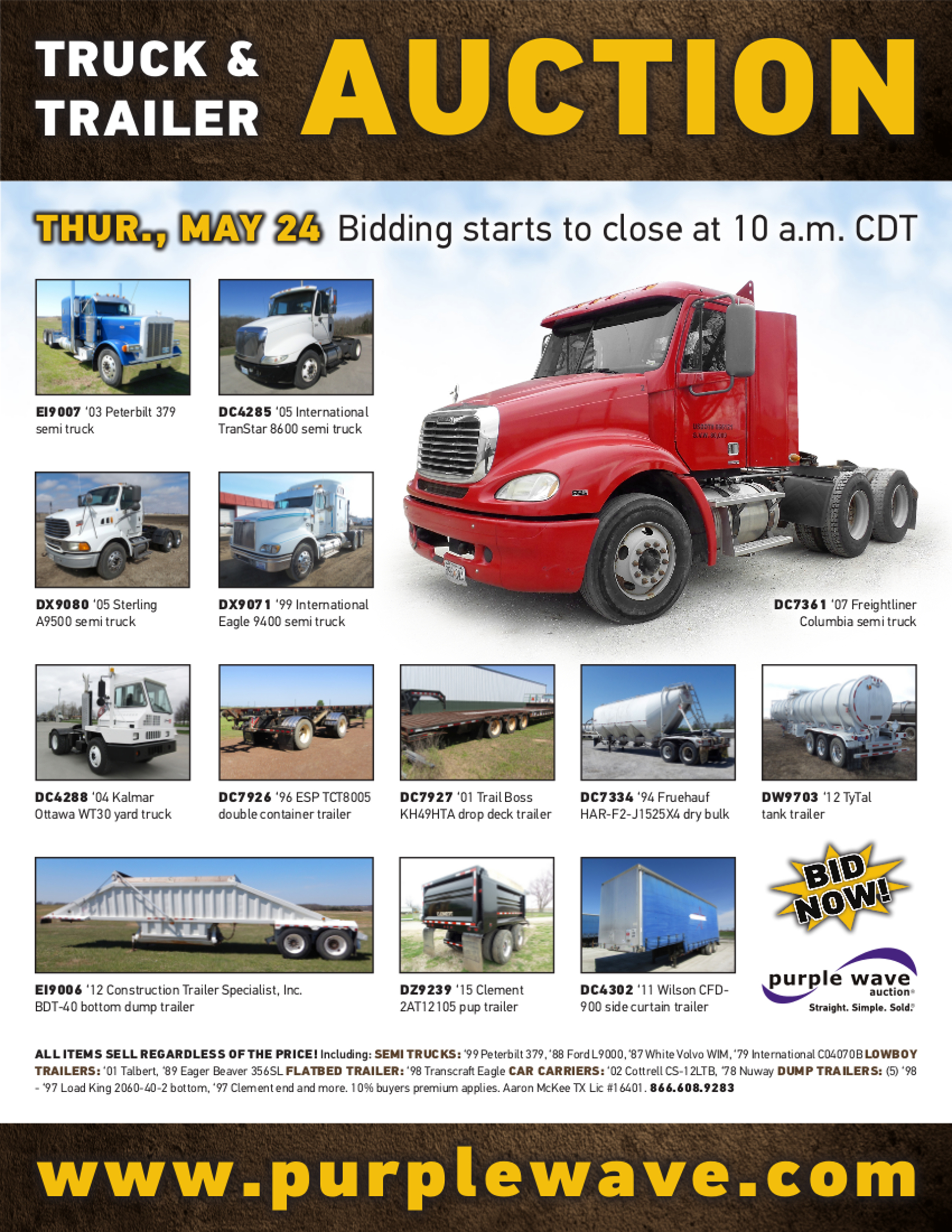 SOLD! May 24 Truck and Trailer Auction | PurpleWave, Inc
