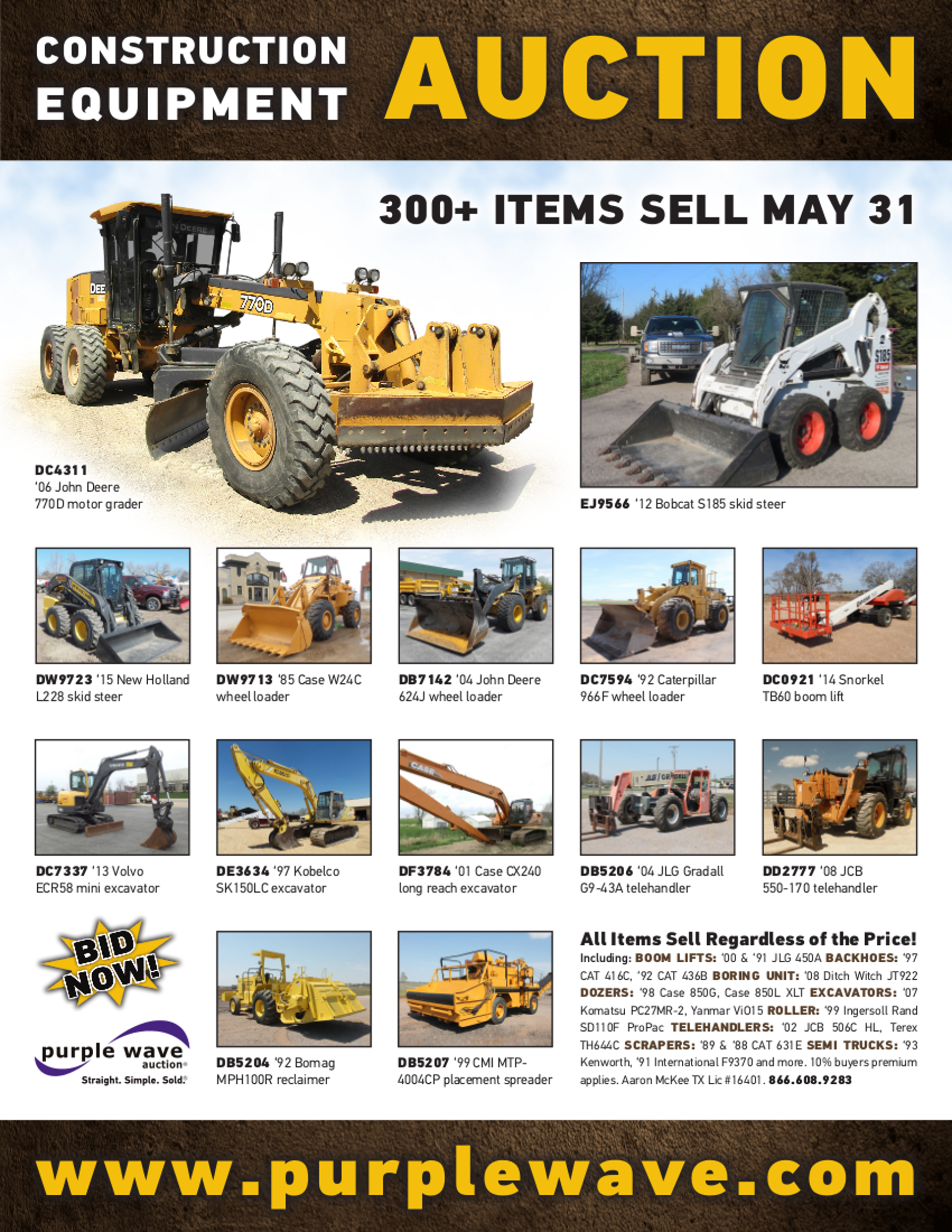 SOLD! May 31 Construction Equipment Auction | PurpleWave, Inc