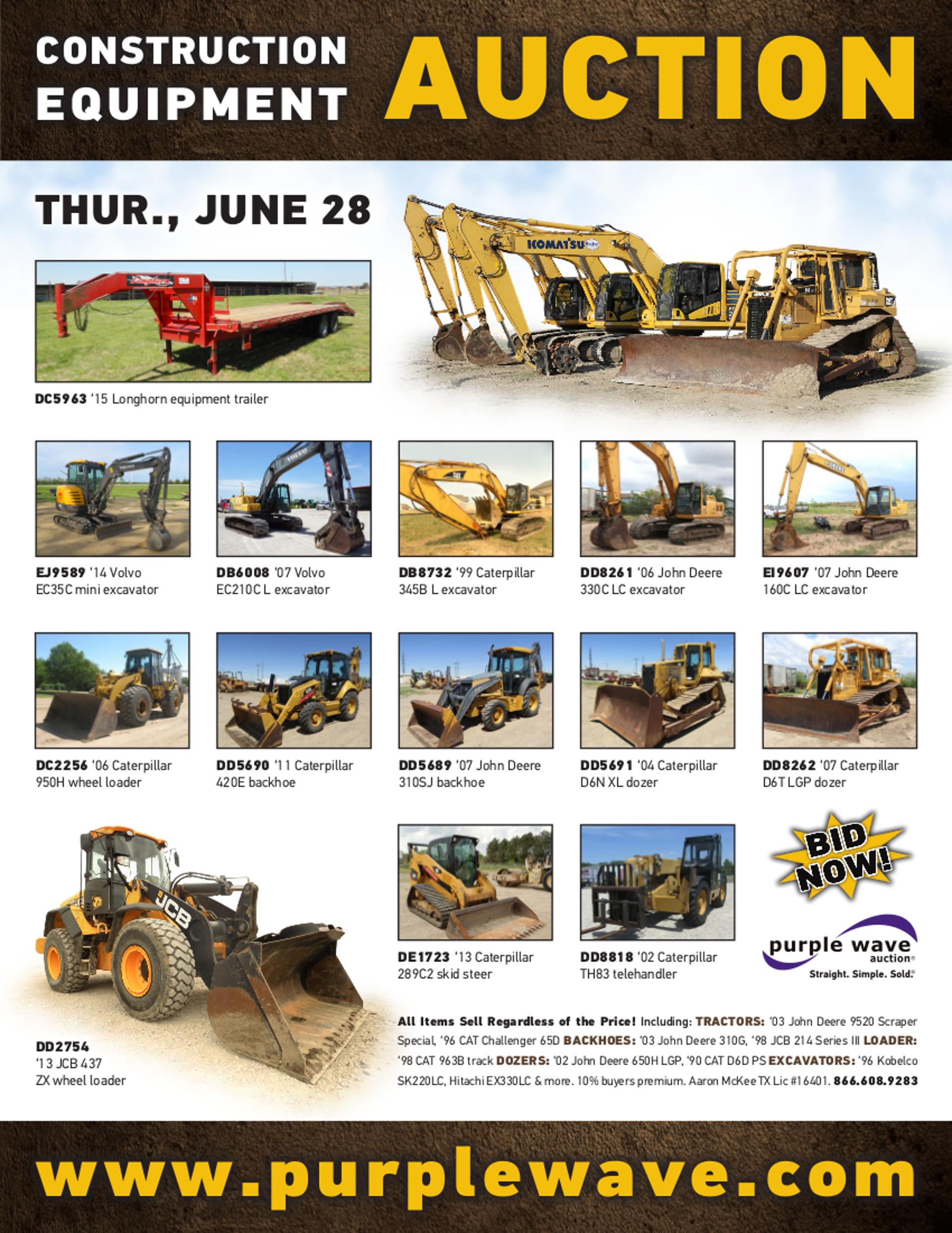 SOLD! June 28 Construction Equipment Auction | PurpleWave, Inc