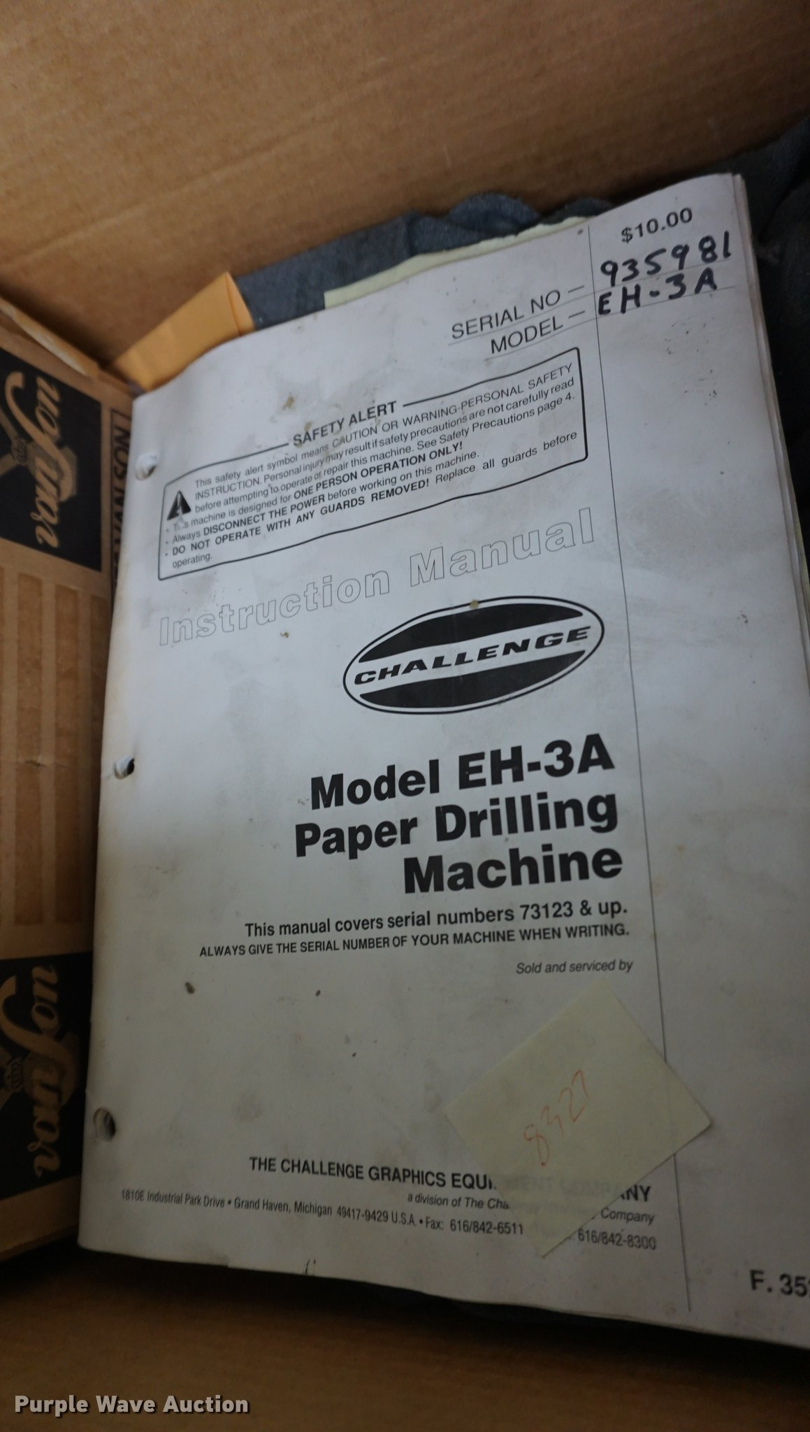 ... Challenge EH3A paper drilling machine Full size in new window ...