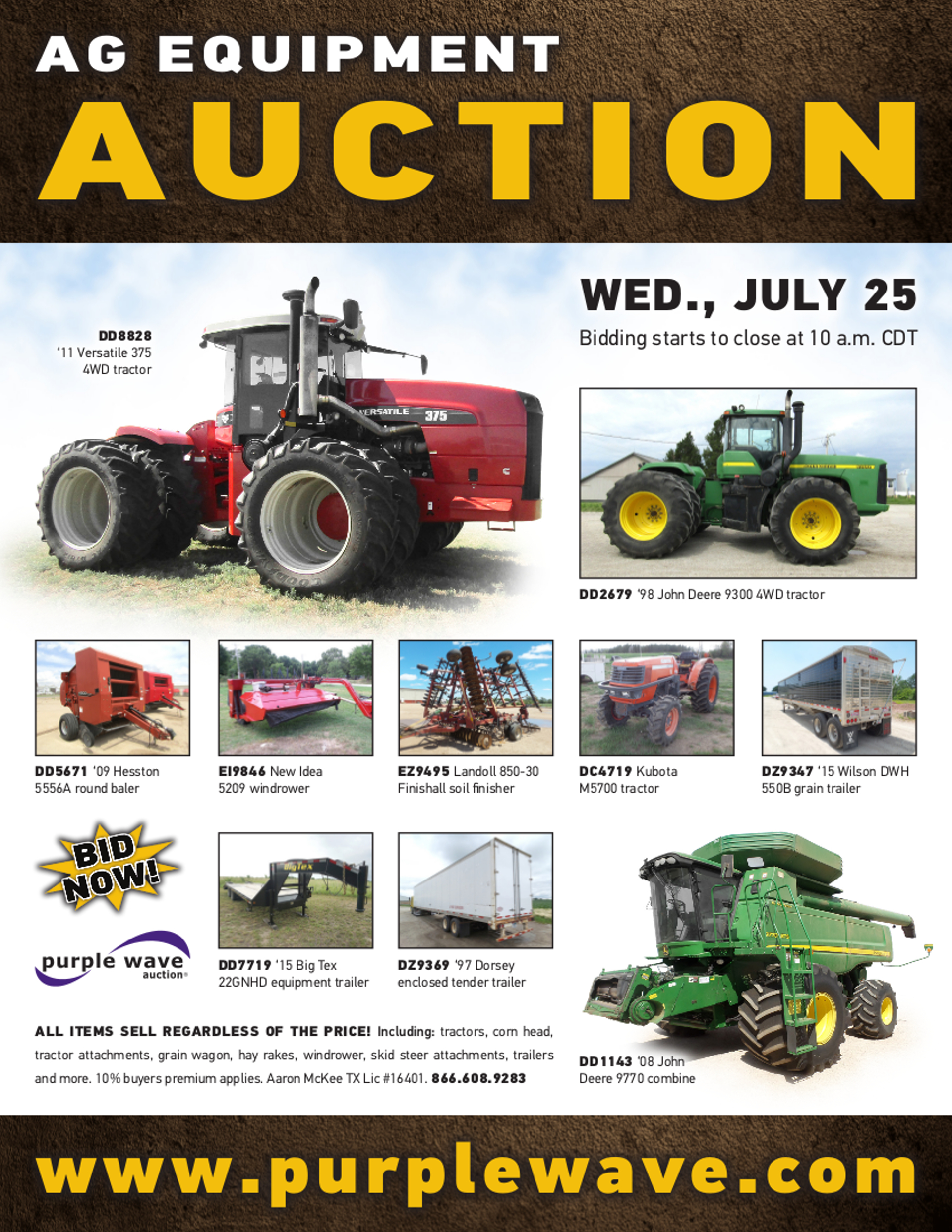 SOLD! July 25 Ag Equipment Auction | PurpleWave, Inc