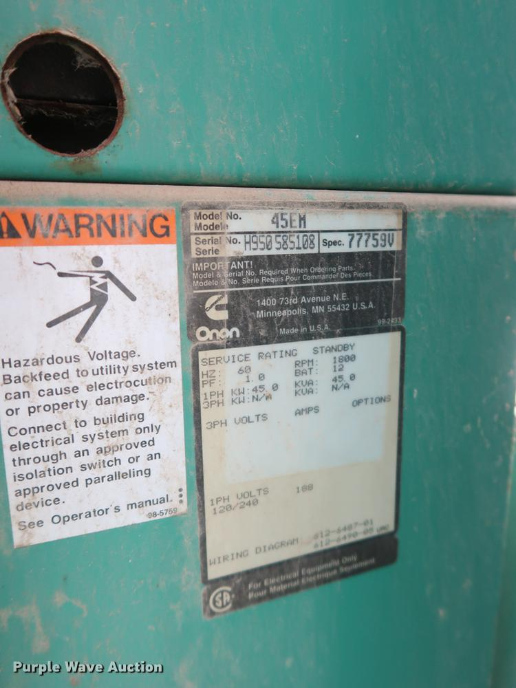 Onan 45EM generator   Item DF2287   SOLD! August 21 Governme... Onan Em Gen Wiring Schematic on