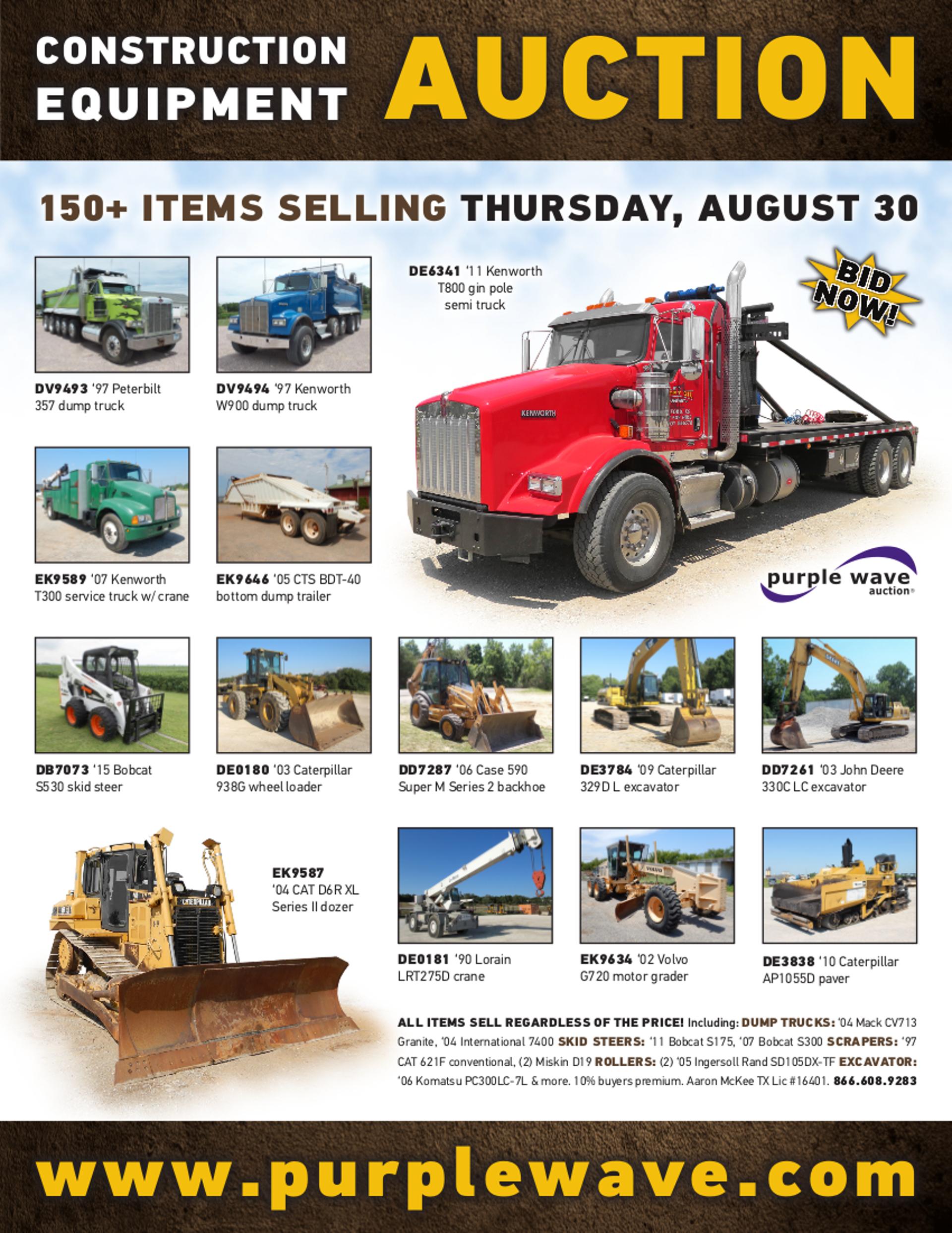 SOLD! August 30 Construction Equipment Auction | PurpleWave