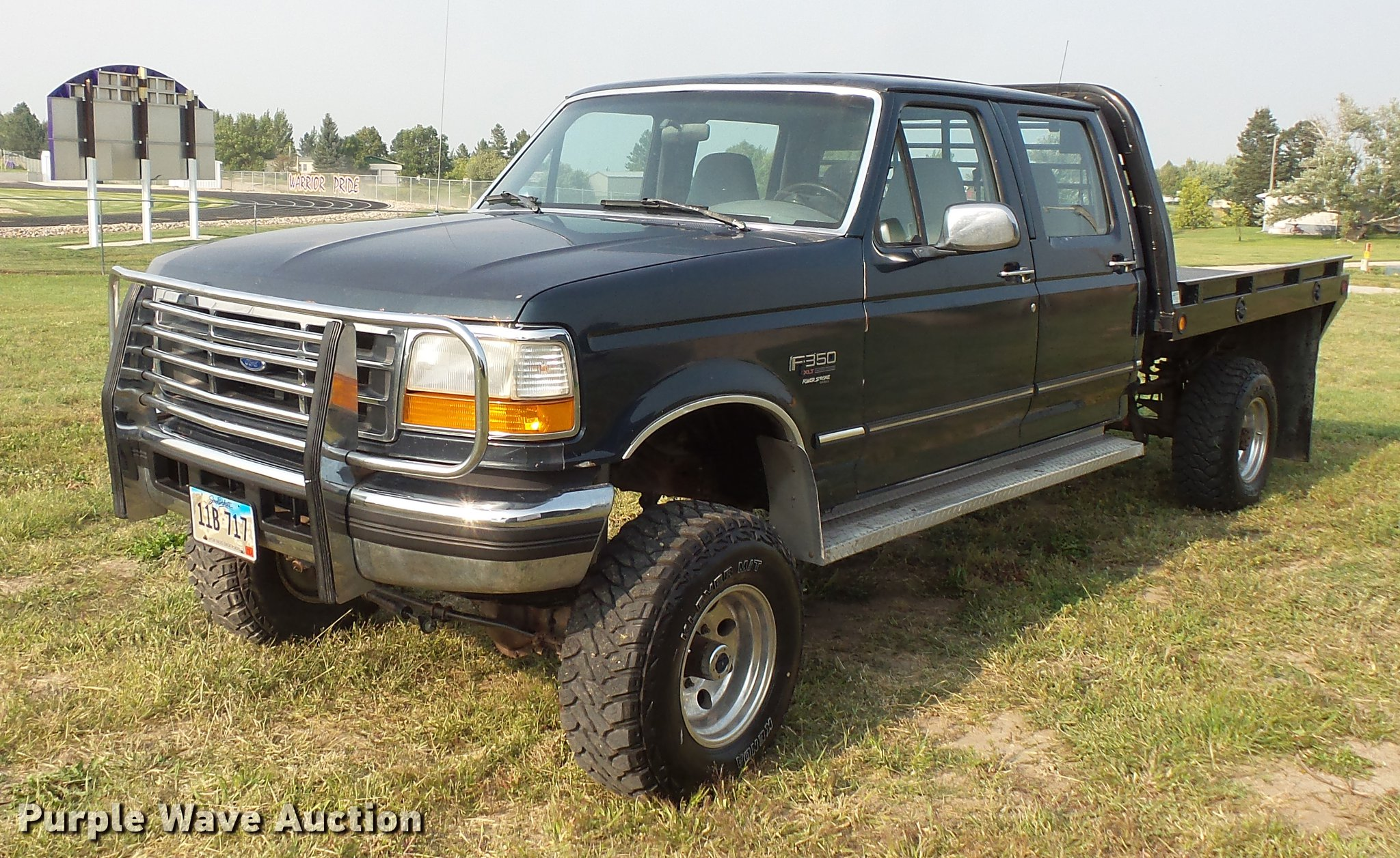 1995 ford f350 super duty crew cab flatbed pickup truck