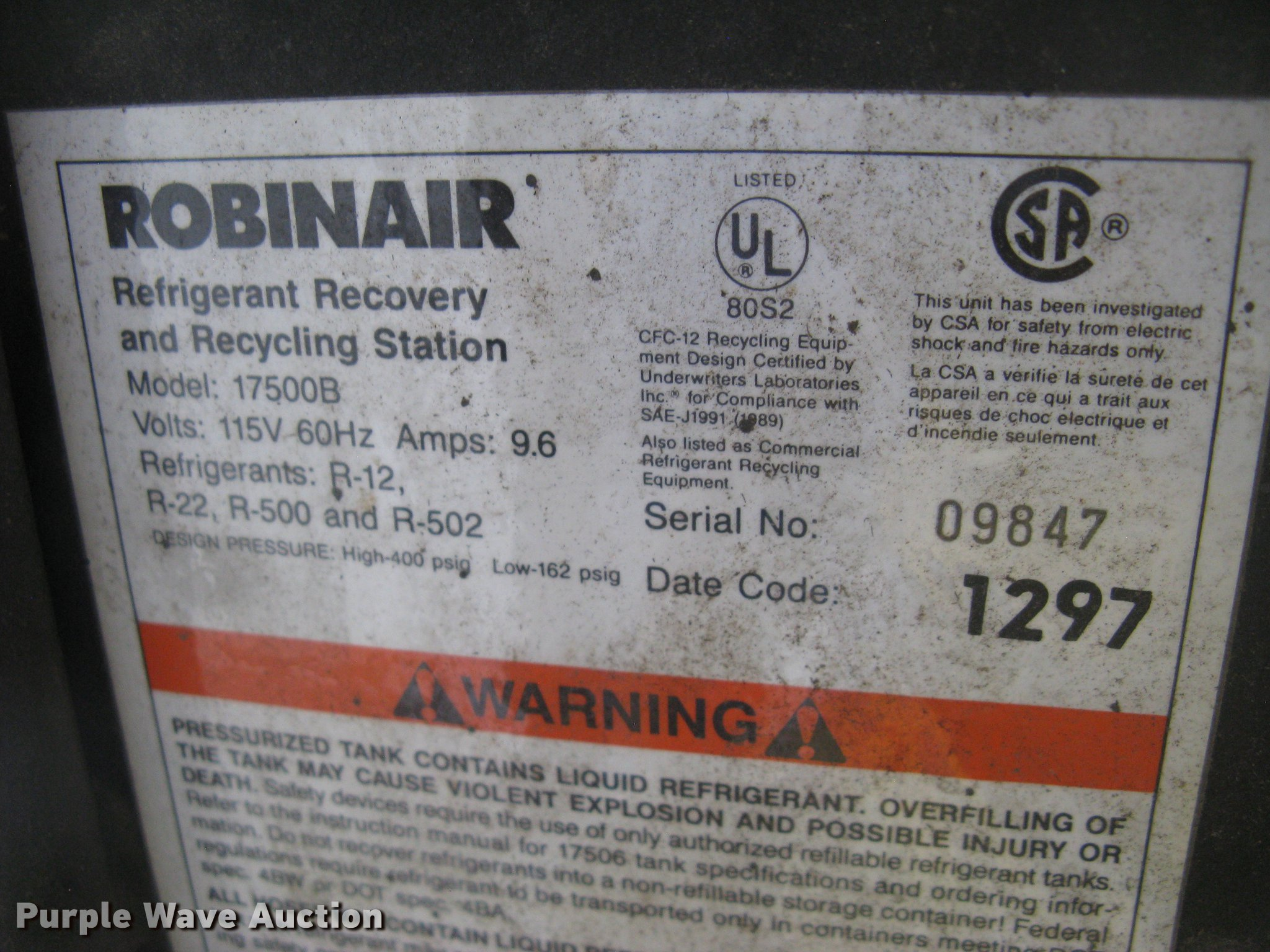 Robinair 17500b Refrigerant Recovery And Recycling System Ac Unit Wiring Diagram Full Size In New Window