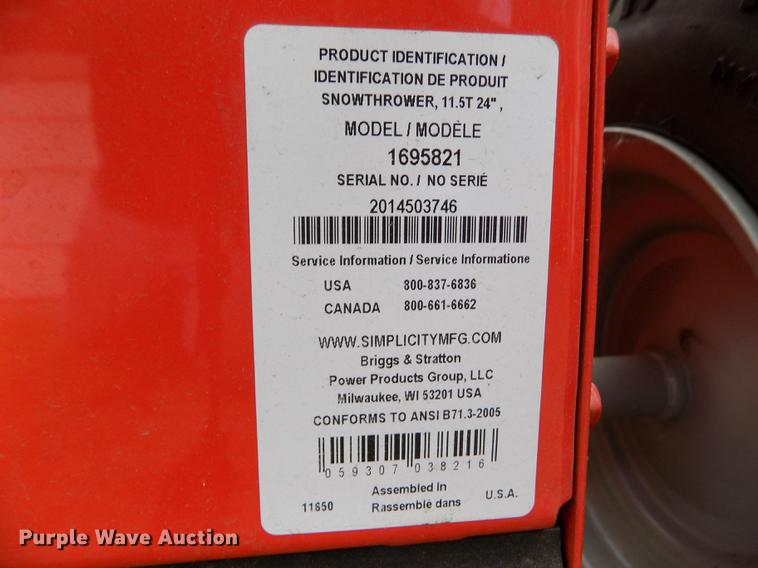 Simplicity I1224E snow blower | Item DB9130 | Wednesday Octo