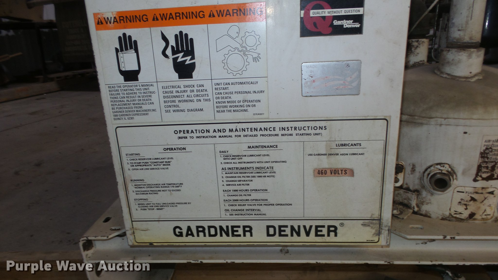 Gardner Denver EBERGF compressor | Item FI9327 | SOLD! Decem... on