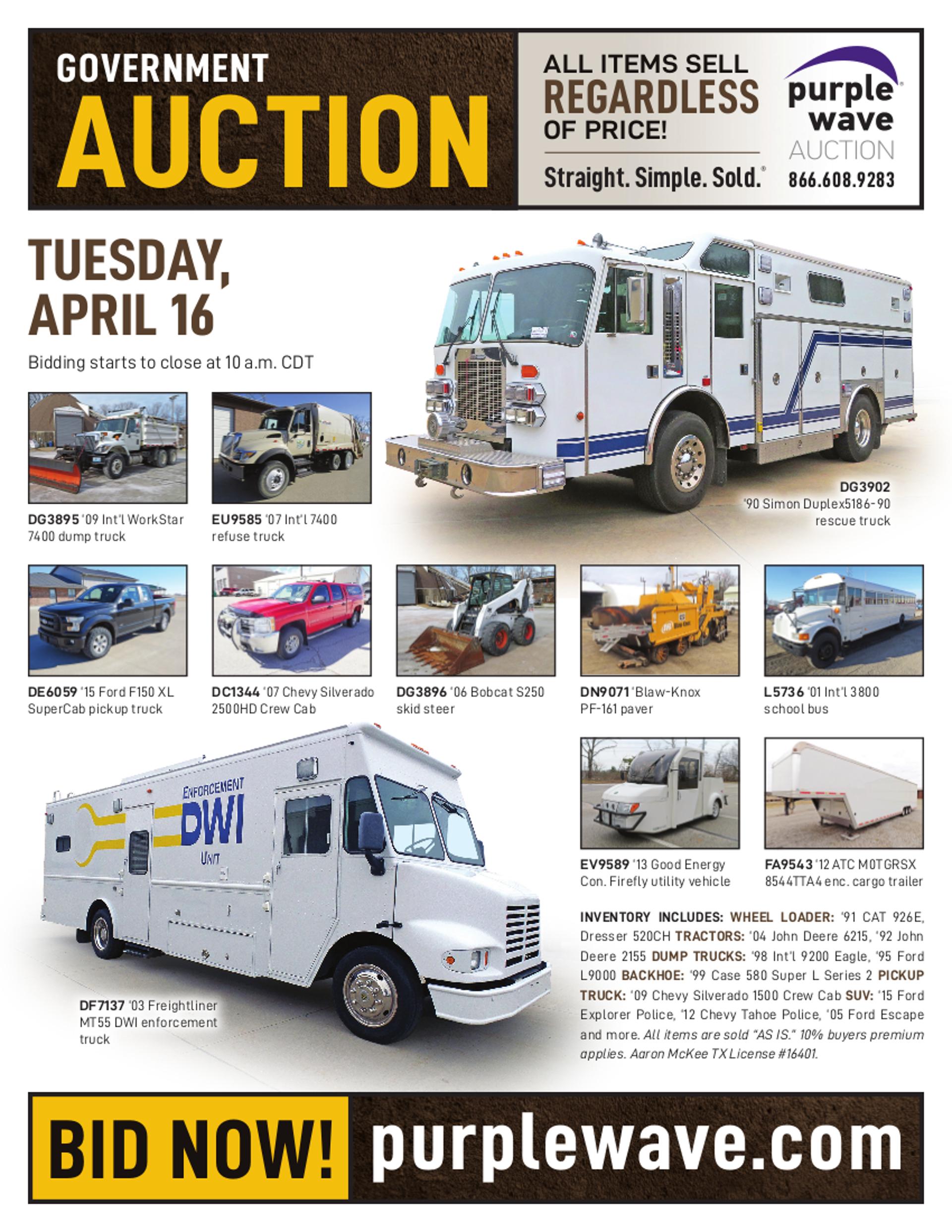 SOLD! April 16 Government Auction | PurpleWave, Inc