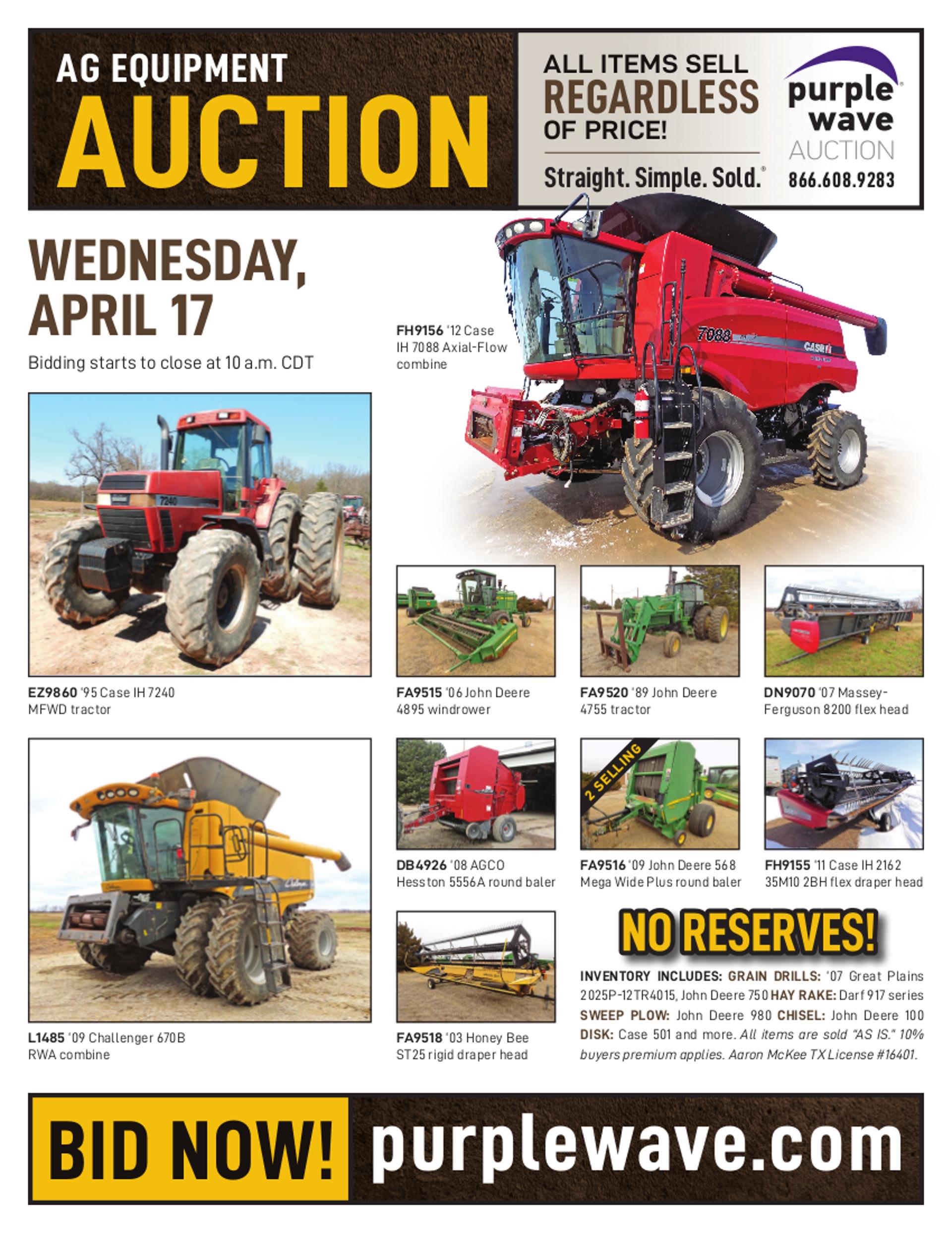 SOLD! April 17 Ag Equipment Auction | PurpleWave, Inc