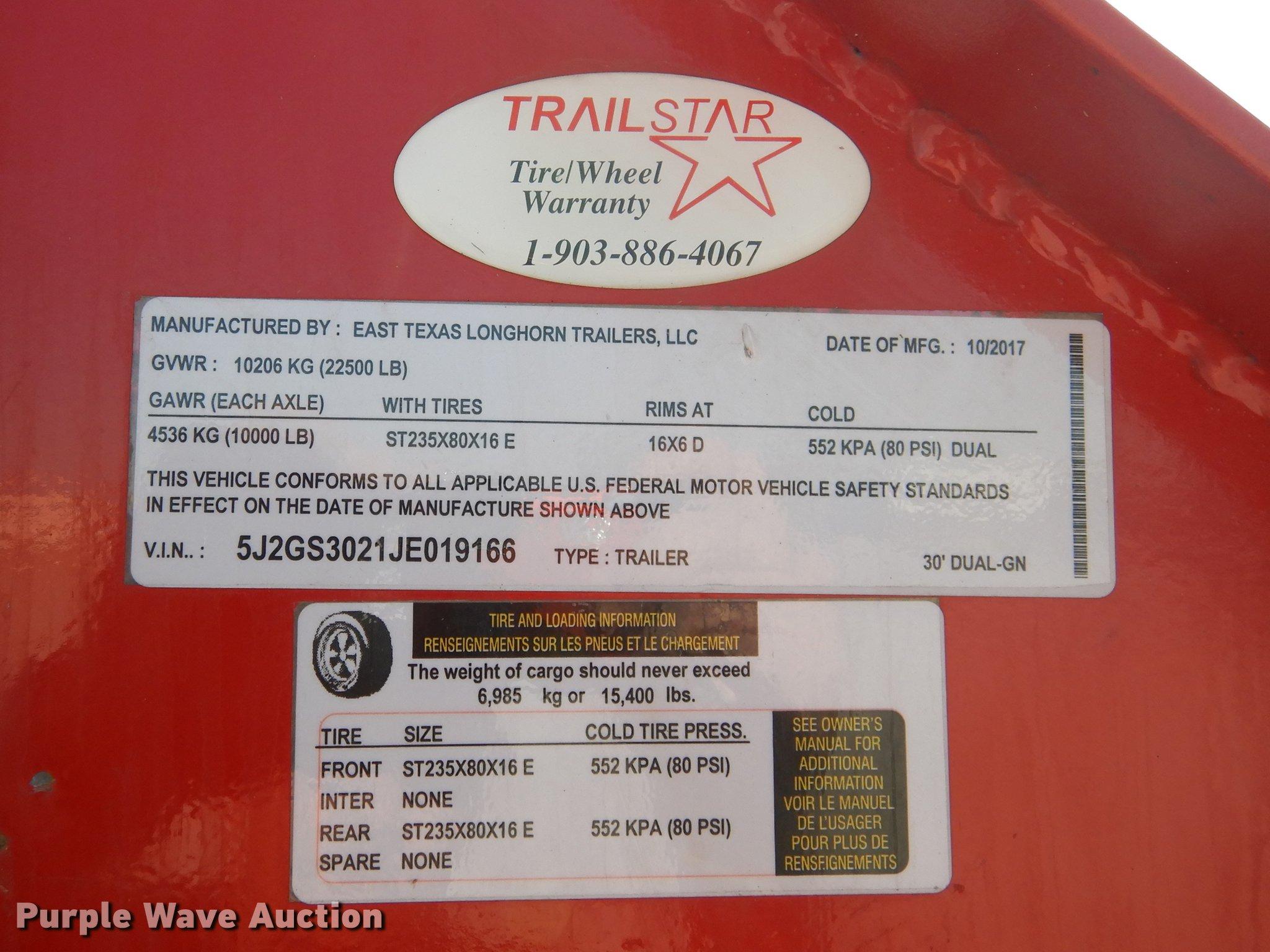 2018 Longhorn equipment trailer | Item DE8544 | Thursday Apr