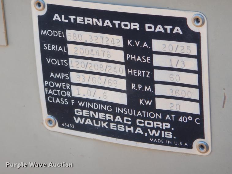 Generac 580 327242 generator | Item EZ9781 | Tuesday May 7 G