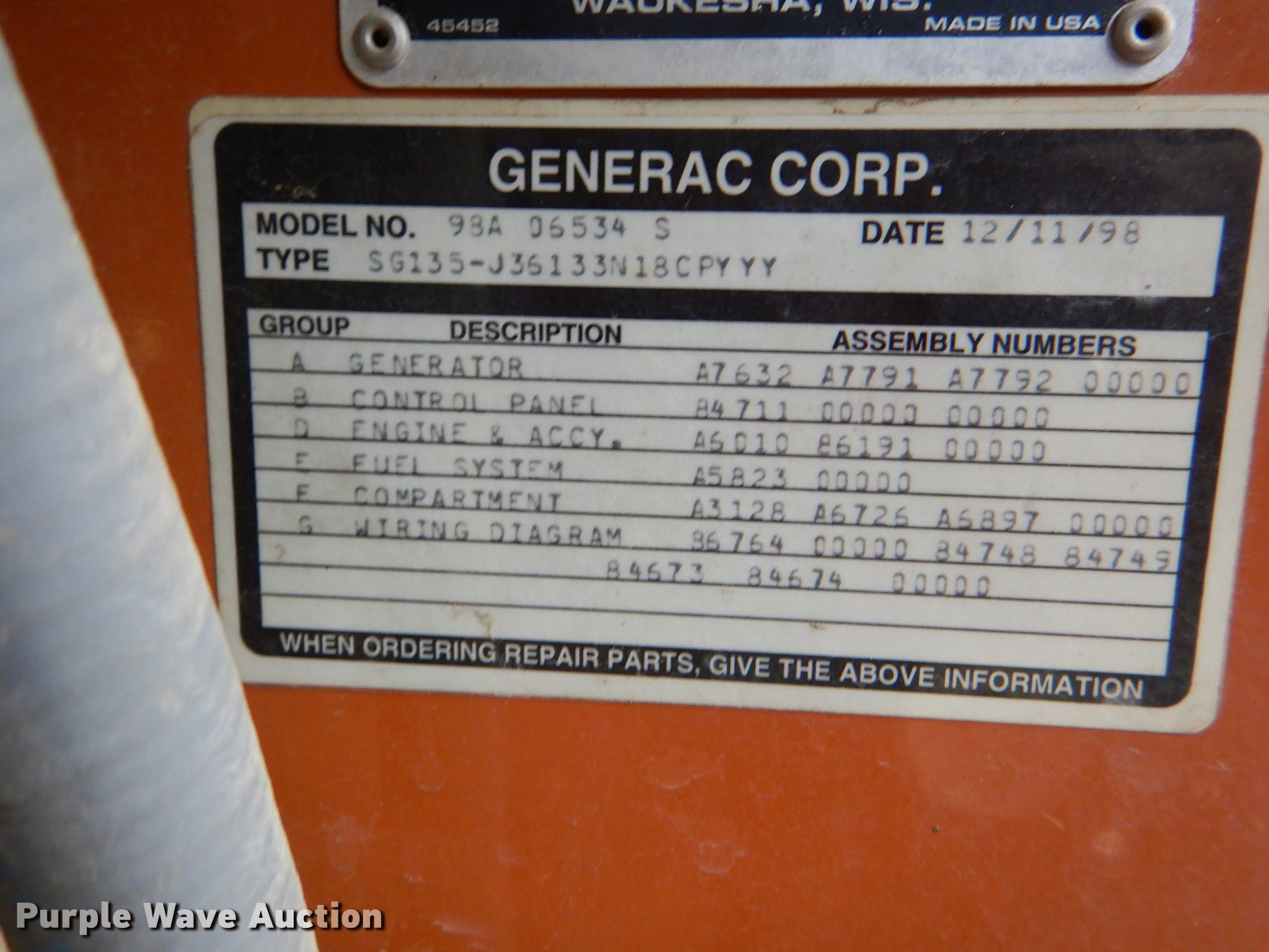 1998 Generac generator | Item DG1017 | Tuesday May 21 Govern