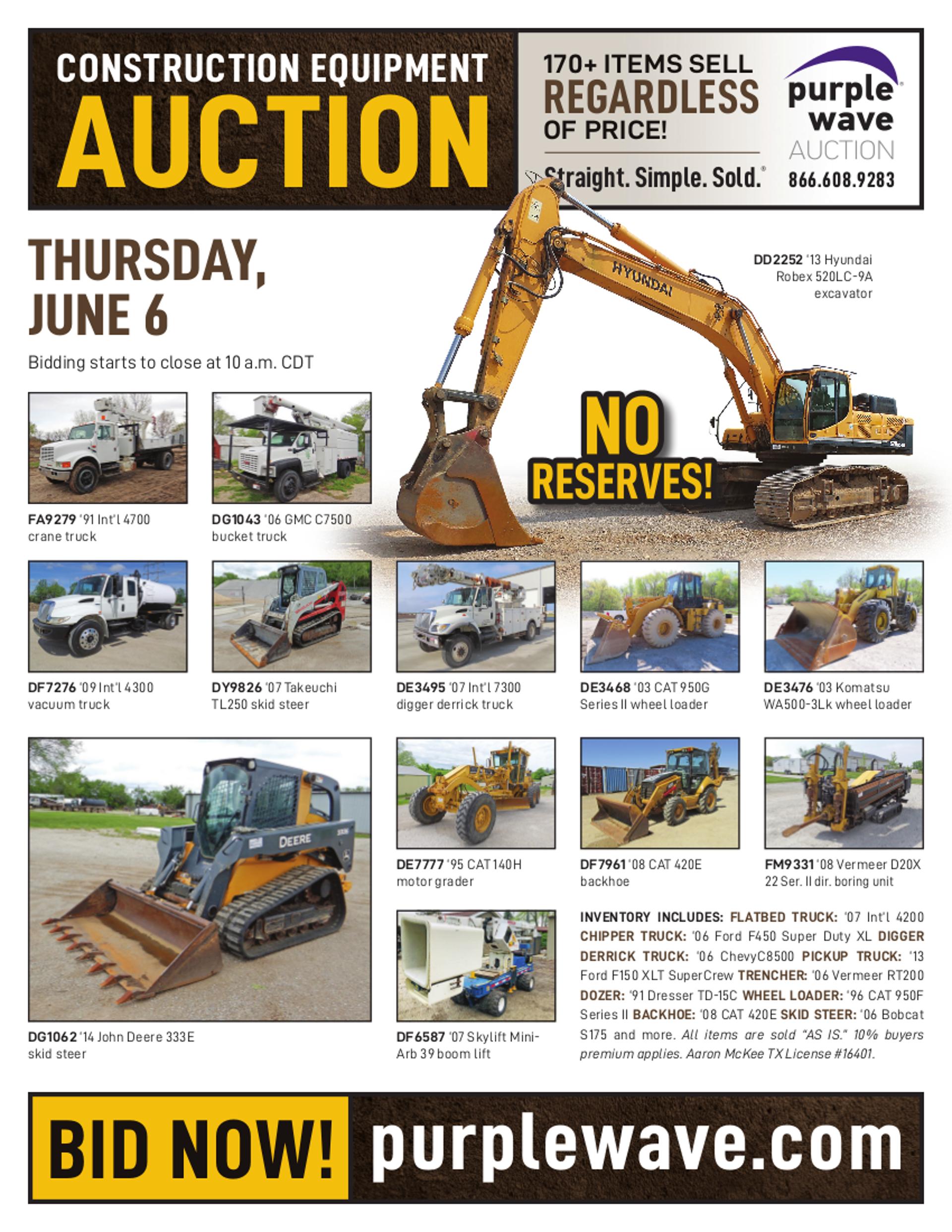 SOLD! June 6 Construction Equipment Auction   PurpleWave, Inc