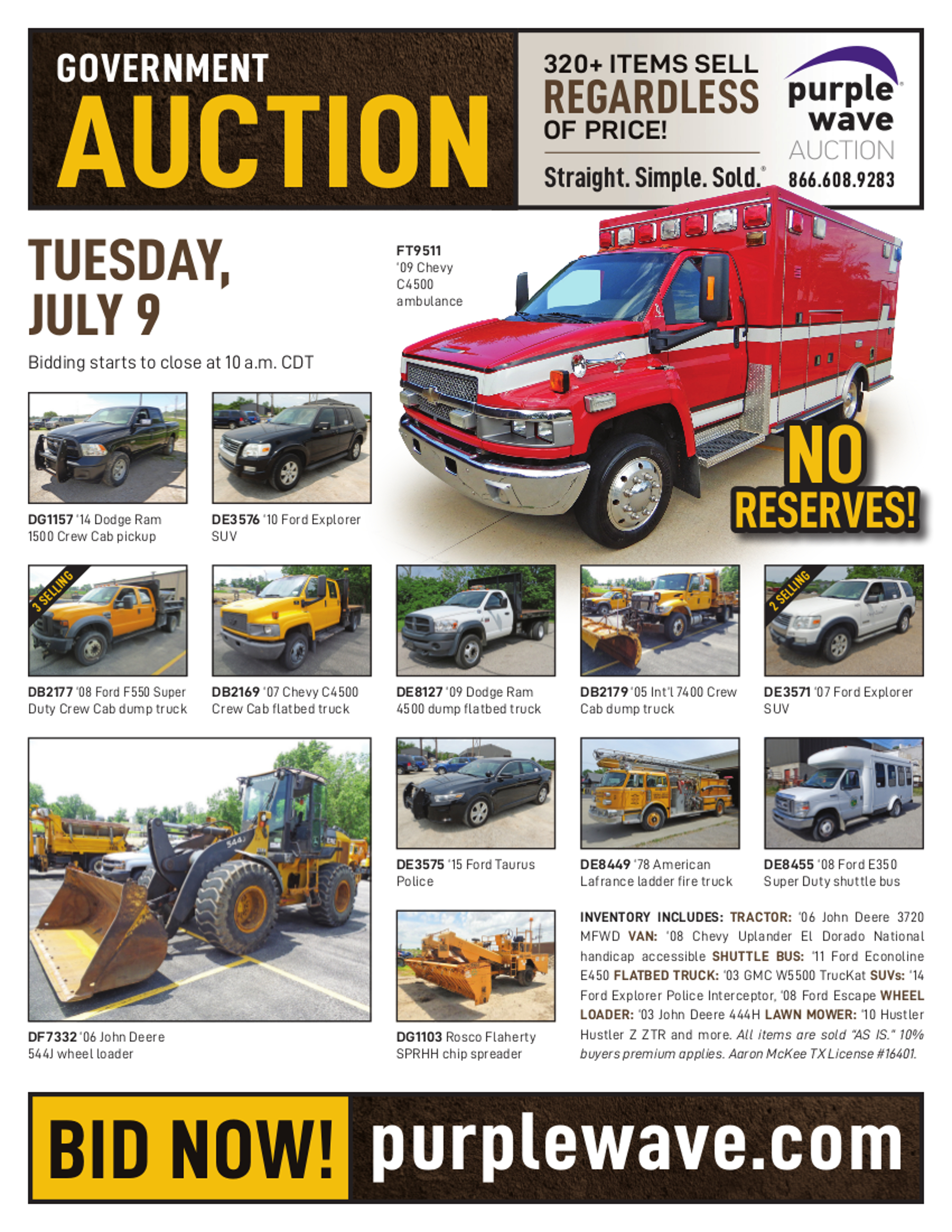 SOLD! July 9 Government Auction   PurpleWave, Inc