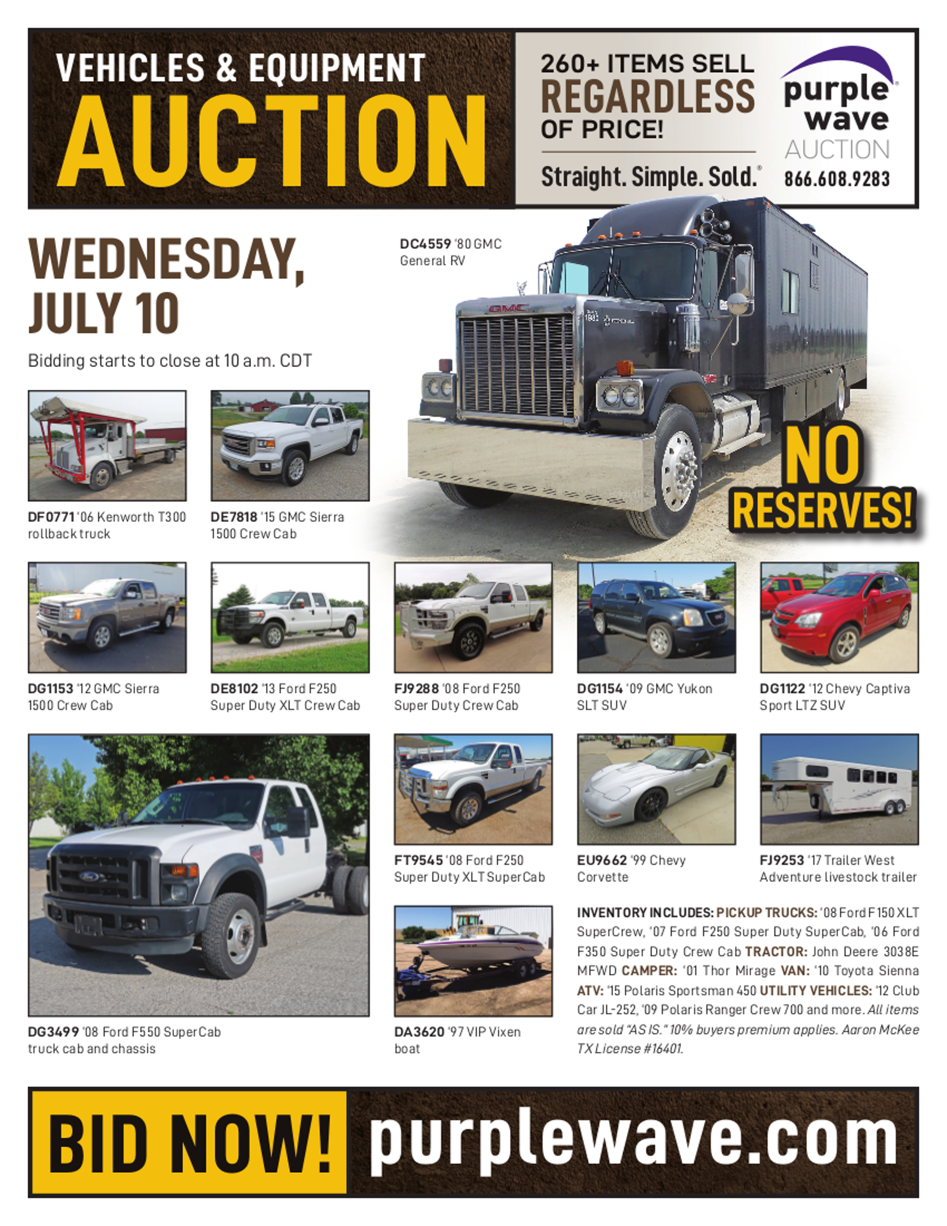 SOLD! July 10 Vehicles and Equipment Auction | PurpleWave, Inc. on