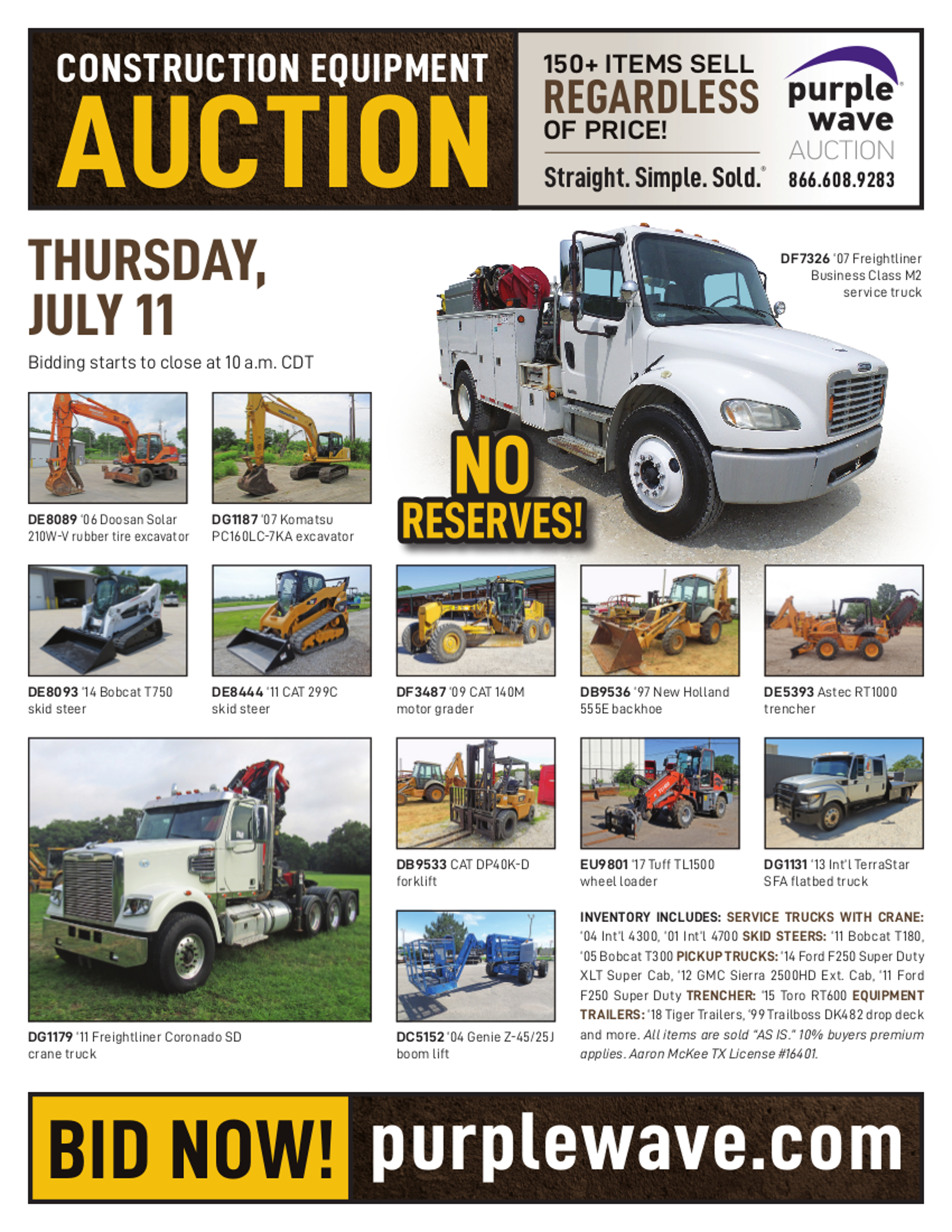 SOLD! July 11 Construction Equipment Auction | PurpleWave, Inc