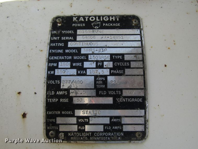 1967 Katolight D150MPZ4E generator | Item DG1318 | Wednesday... on