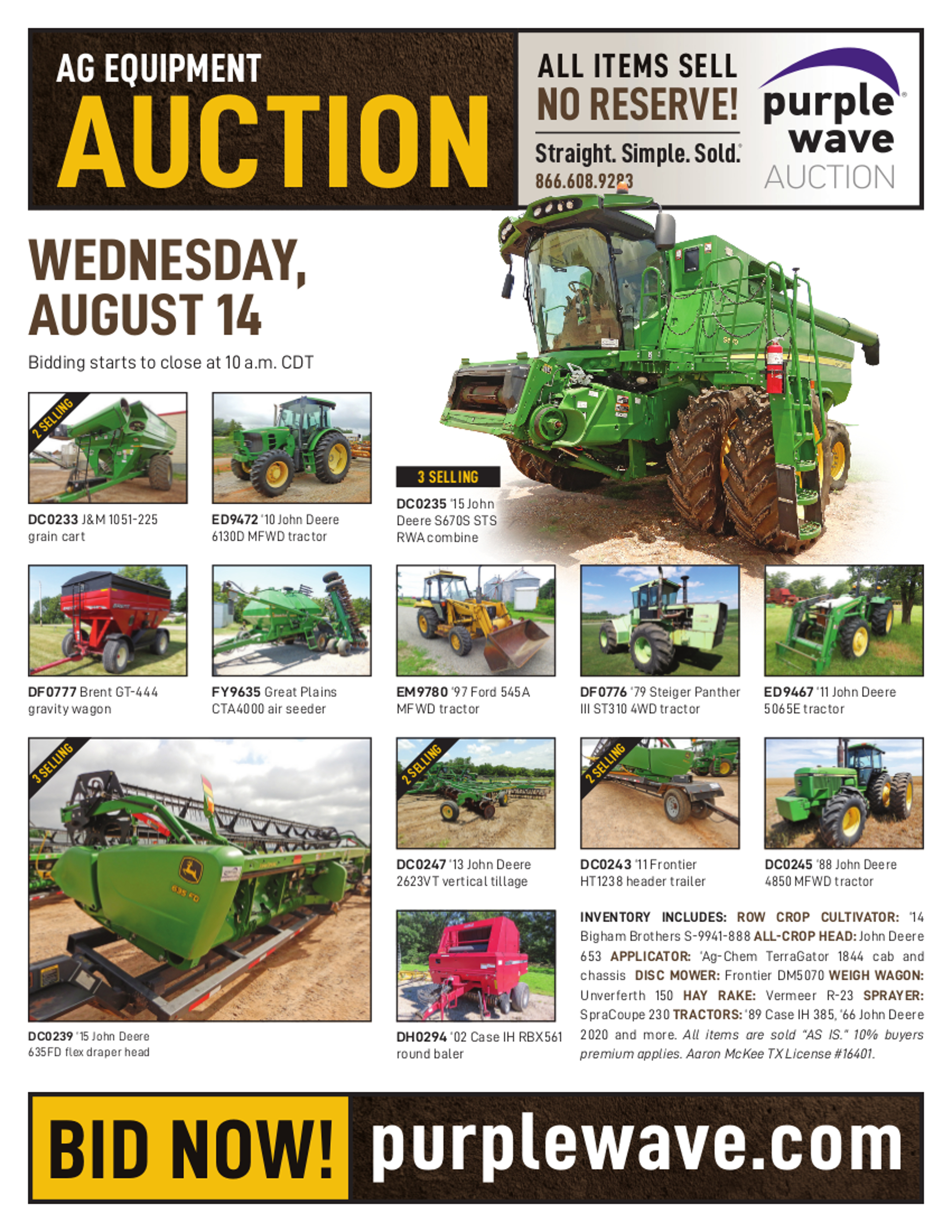 SOLD! August 14 Ag Equipment Auction | PurpleWave, Inc